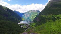 Geiranger fjord, Beautiful Nature Norway. It is a 15-kilometre (9.3 mi) long bra Stock Footage