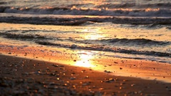 Calm sea and shore sunset - closeup detail Stock Footage