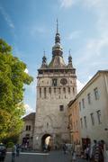 Clock Tower, saxon landmark of Transylvania in Sighisoara, Romania Stock Photos