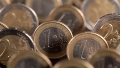 Sliding over euro coins Stock Footage