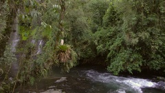 Pristine waterfalls in cloudforest slow motion Stock Footage