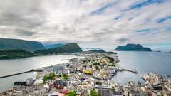 Aksla at the city of Alesund , Norway timelapse. Stock Footage