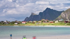 Timelapse beach Lofoten islands is an archipelago in the county of Nordland, Nor Stock Footage