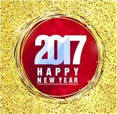 Happy new year 2017 with gold background Piirros