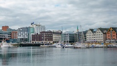 View of a marina in Tromso, North Norway timelapse. Tromso is considered the nor Stock Footage
