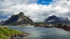 Timelapse Lofoten islands is an archipelago in the county of Nordland, Norway. I Stock Footage