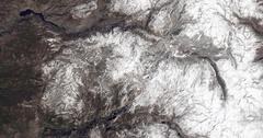 High-altitude overflight aerial of California's Sierra Nevada mountains. Stock Footage