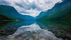Beautiful Nature Norway natural landscape. lovatnet lake. Stock Footage