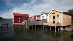 Old colored houses in Mosjoen Norway Stock Footage