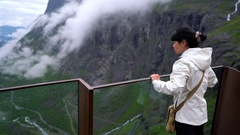 Troll road lookout observation deck view point beautiful nature norway. Stock Footage