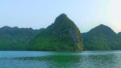 Scenic landscape, rock island, Halong Bay, Vietnam Stock Footage