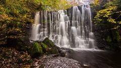 Scale Haw waterfall in Yorkshire Stock Footage