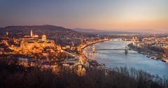 Panoramic View of Budapest and the Danube River as Seen from Gellert Hill Stock Photos