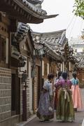 Bukchon Hanok Village in Seoul, South Korea. Stock Photos