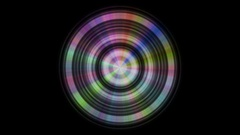 Metal disc with color reflections, seamless loop Stock Footage