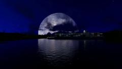 Cargo ship under big beatiful moon Stock Footage