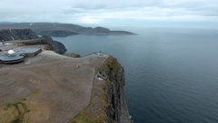 Aerial footage from Barents Sea coast North Cape (Nordkapp) in northern Norway. Stock Footage
