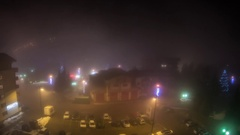 Timelapse with fog that enveloped a small town at night Stock Footage