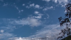 Fluffy clouds moving quickly on blue sky Stock Footage