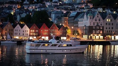 Beautiful coast of Bergen in the Night. Cozy Town. Norway. Ship in Bergen bay Stock Footage