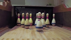 Abandoned bowling alley pins in lane Stock Footage