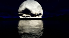 Reflection of big beatiful moon on the sea Stock Footage