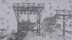 Image seen through the front window of the cable car approaching the t Stock Footage