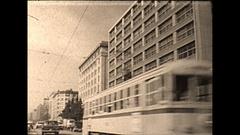 Vintage 16mm film, 1964, Tokyo drive plate traffic city #4 Stock Footage