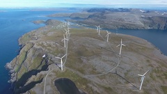 Windmills for electric power production. Arctic View Havoygavelen windmill park, Stock Footage