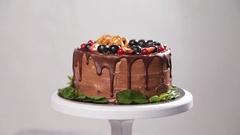 Chocolate cake with fresh strawberry Stock Footage