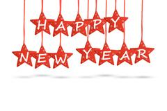 Happy new year wish with red stars isolated on white background Stock Photos