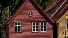 Norway, Bergen - August: City life view. Panorama of Beautiful Houses Stock Footage