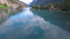 Beautiful Nature Norway natural landscape. Aerial footage lovatnet lake. Stock Footage