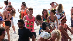 Girls And Guys Dancing The Beach During Full Moon Party, Koh Phangan, Thailand Stock Footage