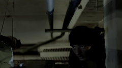Stalker explores underground vault for danger in a post-apocalyptic world Stock Footage