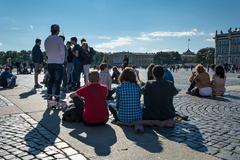 People enjoy the art of street musician , St. Petersburg, Russia Stock Photos
