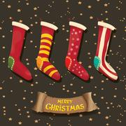 Vector cartoon cute christmas stocking or socks Stock Illustration