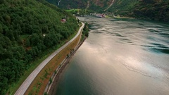 Beautiful Nature Norway natural landscape. Sognefjord or Sognefjorden, Norway Fl Stock Footage