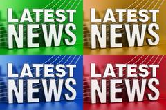 Set of Latest News screens with colored background 3D rendering Stock Illustration
