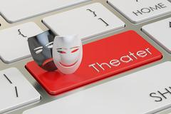 Theatre concept Tragicomic theater masks on red keyboard button 3D ren Stock Illustration