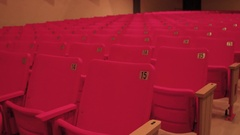 Empty cinema seats in theatre for movies Stock Footage