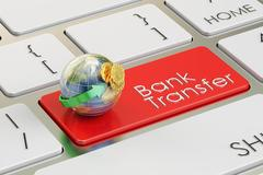 Bank transfer concept on red keyboard button 3D rendering Stock Illustration