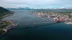 Aerial footage from Bridge of city Tromso, Norway aerial photography. Tromso is  Stock Footage