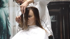 Professional hair cutting in beauty salon Stock Footage