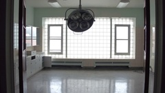Old abandoned hospital surgery theatre Stock Footage