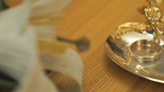Wedding rings on the saucer in a registration hall Stock Footage