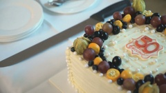Cake for the golden wedding 50 years. Close up Stock Footage