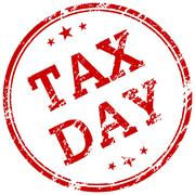 Tax day red rubber stamp Stock Illustration