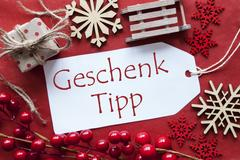 Label With Christmas Decoration, Geschenk Tipp Means Gift Tip Stock Photos