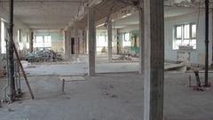 Walk through demolition destruction construction zone Stock Footage